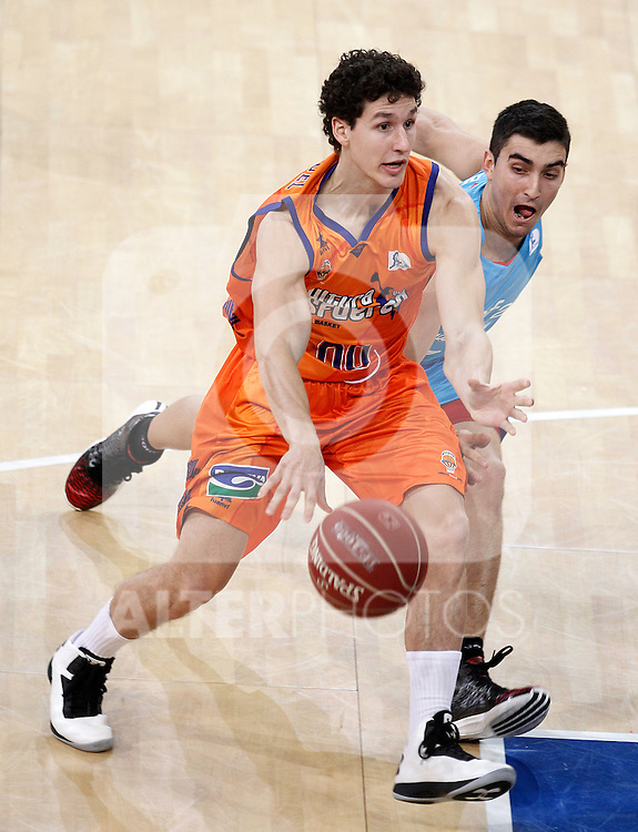 Valencia Basket Club's Rodrigo San Miguel (l) and Asefa Estudiantes' Jaime Fernandez during Spanish Basketball King's Cup match.February 07,2013. (ALTERPHOTOS/Acero)