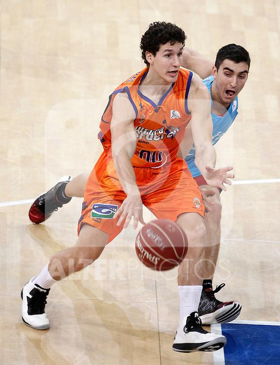 Valencia Basket Club's Rodrigo San Miguel (l) and Asefa Estudiantes' Jaime Fernandez during Spanish Basketball King's Cup match.February 07,2013. (ALTERPHOTOS/Acero)
