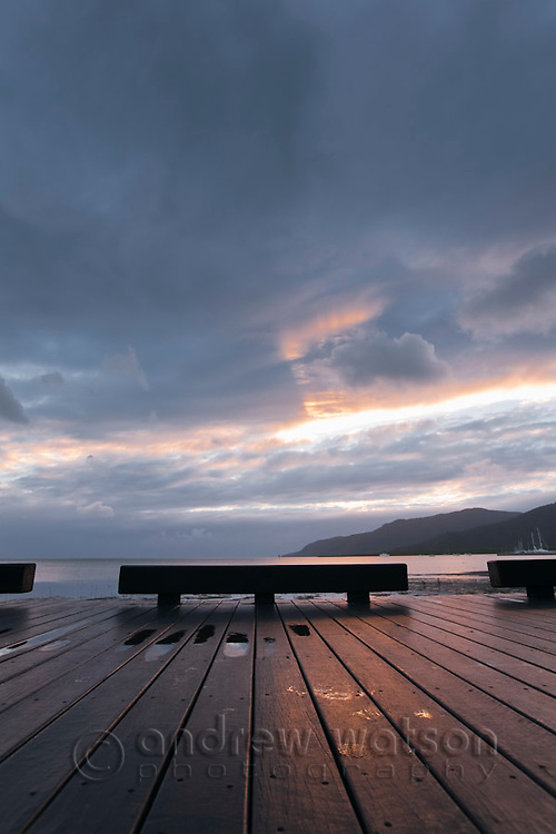 The Esplanade boardwalk at dawn.  Cairns, Queensland, Australia