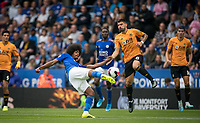 Hamza Choudhury of Leicester City has a shot blocked by Rubén Neves of Wolves during the Premier League match between Leicester City and Wolverhampton Wanderers at the King Power Stadium, Leicester, England on 10 August 2019. Photo by Andy Rowland.