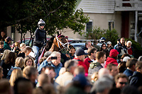 LOUISVILLE, KY - MAY 03: Salty makes her way to the track as fans look on at Churchill Downs on May 03, 2017 in Louisville, Kentucky. (Photo by Alex Evers/Eclipse Sportswire/Getty Images)