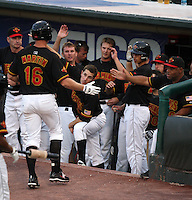 Rochester Red Wings Outfielder Dustin Martin is greeted at the dugout by Trevor Plouffe, Floyd Rayford, and other teammates after hitting a home run during a game vs. the Columbus Clippers at Frontier Field in Rochester, New York;  June 21, 2010.   Rochester defeated Columbus 2-1.  Photo By Mike Janes/Four Seam Images