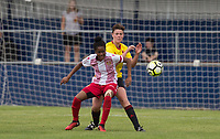 Bolu Fisher of Stevenage Ladies holds off Ruby Baxter of Watford Ladies during the pre season friendly match between Stevenage Ladies FC and Watford Ladies at The County Ground, Letchworth Garden City, England on 16 July 2017. Photo by Andy Rowland / PRiME Media Images.