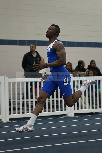 UK sophomore Kadeem Kushimo in the men's 400 meter dash during the UK Invitational Track & Field Meet on January 12th, 2013 at the Nutter Field House. Photo by Adam Chaffins | Staff