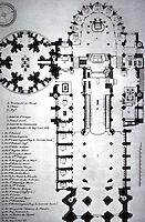 Paris: Saint-Denis, Plan before destruction of Valois Mausoleum. Reference only.