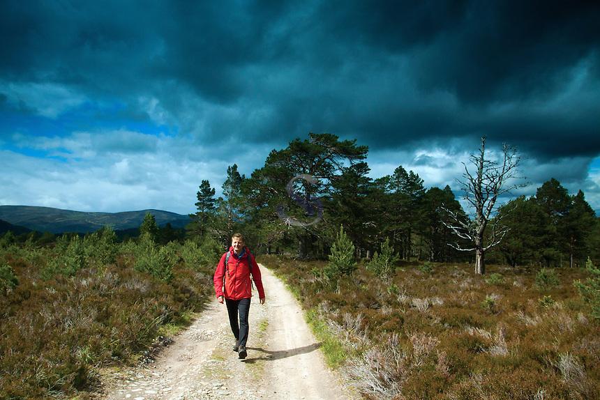 Walking through Gleann Einich, Cairngorm National Park, Badenoch and Speyside