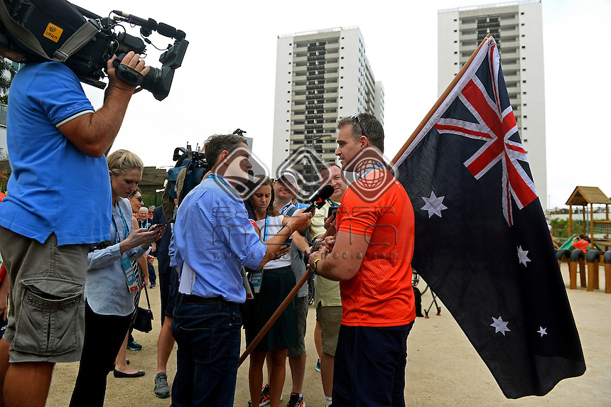 The Australian Paralympic Team come together for the celebration of Brad Ness announced as the flag bearer for the Opening Ceremony.<br /> 2016 Paralympic Games - RIO Brazil<br /> Australian Paralympic Committee<br /> Rio Monday 5 September 2016<br /> &copy; Sport the library / Courtney Crow