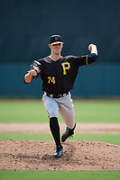 Pittsburgh Pirates pitcher Blake Weiman (74) delivers a pitch during a Florida Instructional League game against the Baltimore Orioles on September 22, 2018 at Ed Smith Stadium in Sarasota, Florida.  (Mike Janes/Four Seam Images)