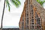 The frame work for the reconstruction of Hale o Keawe temple, Puʻuhonua o Hōnaunau National Historical Park, Big Island, Hawaii.