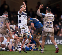Bristol Bears' Luke Hamilton celebrates with Bristol Bears' Charles Piutau<br /> <br /> Photographer Bob Bradford/CameraSport<br /> <br /> Gallagher Premiership - Bath Rugby v Bristol Bears - Sunday 1st March 2020 - The Recreation Ground - Bath<br /> <br /> World Copyright © 2020 CameraSport. All rights reserved. 43 Linden Ave. Countesthorpe. Leicester. England. LE8 5PG - Tel: +44 (0) 116 277 4147 - admin@camerasport.com - www.camerasport.com