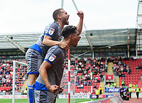 Lincoln City's Tyler Walker, right, celebrates scoring the opening goal with team-mate Jack Payne<br /> <br /> Photographer Chris Vaughan/CameraSport<br /> <br /> The EFL Sky Bet Championship - Rotherham United v Lincoln City - Saturday 10th August 2019 - New York Stadium - Rotherham<br /> <br /> World Copyright © 2019 CameraSport. All rights reserved. 43 Linden Ave. Countesthorpe. Leicester. England. LE8 5PG - Tel: +44 (0) 116 277 4147 - admin@camerasport.com - www.camerasport.com