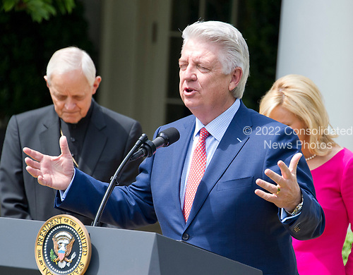 Pastor Jack Graham offers a prayer prior to United States President Donald J. Trump signing a Proclamation designating May 4, 2017 as a National Day of Prayer and an Executive Order &quot;Promoting Free Speech and Religious Liberty&quot; in the Rose Garden of the White House in Washington, DC on Thursday, May 4, 2017.<br /> Credit: Ron Sachs / CNP