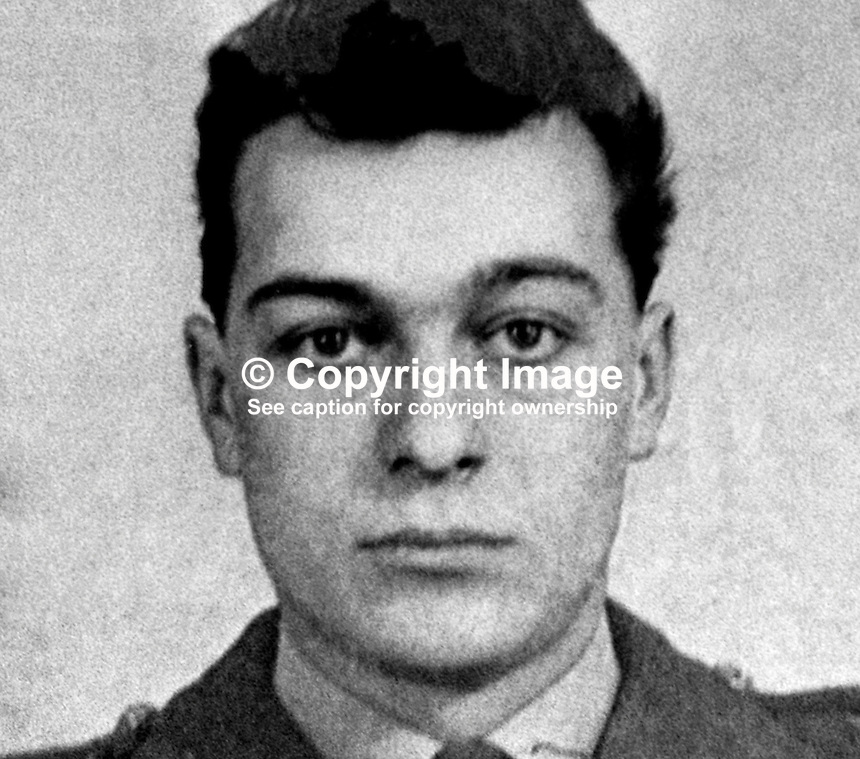 Bombardier Heinz Eric Pisarek, soldier, Royal Artillery, British Army, married, 2 children, who died in a Provisional IRA ambush at Rossville Street flats, Londonderry, N Ireland, 25th November 1973. Pisarek was a German-born British national. 197311250732<br /> <br /> Copyright Image from Victor Patterson, 54 Dorchester Park, <br /> Belfast, UK, BT9 6RJ<br /> <br /> t1: +44 28 9066 1296 (from Rep of Ireland 048 9066 1296)<br /> t2: +44 28 9002 2446 (from Rep of Ireland 048 9002 2446)<br /> m: +44 7802 353836<br /> <br /> e1: victorpatterson@me.com<br /> e2: victorpatterson@gmail.com<br /> <br /> www.victorpatterson.com<br /> <br /> Please see my Terms and Conditions of Use at www.victorpatterson.com. It is IMPORTANT that you familiarise yourself with them.<br /> <br /> Images used on the Internet must be visibly watermarked i.e. &copy; Victor Patterson within the body of the image and copyright metadata must not be deleted. Images used on the Internet have a size restriction of 4kbs and will be chargeable at current NUJ rates unless agreed otherwise.<br /> <br /> This image is only available for the use of the download recipient i.e. television station, newspaper, magazine, book publisher, etc, and must not be passed on to any third party. It is also downloaded on condition that each and every usage is notified within 7 days to victorpatterson@me.com<br /> <br /> The right of Victor Patterson to be identified as the author is asserted in accordance with The Copyright Designs And Patents Act (1988).