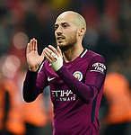 David Silva of Manchester City celebrates at the end of the premier league match at the Wembley Stadium, London. Picture date 14th April 2018. Picture credit should read: Robin Parker/Sportimage