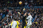 Javi Varas of UD Las Palmas and Isco Alarcon of Real Madrid  during the match of Spanish La Liga between Real Madrid and UD Las Palmas at  Santiago Bernabeu Stadium in Madrid, Spain. March 01, 2017. (ALTERPHOTOS / Rodrigo Jimenez)