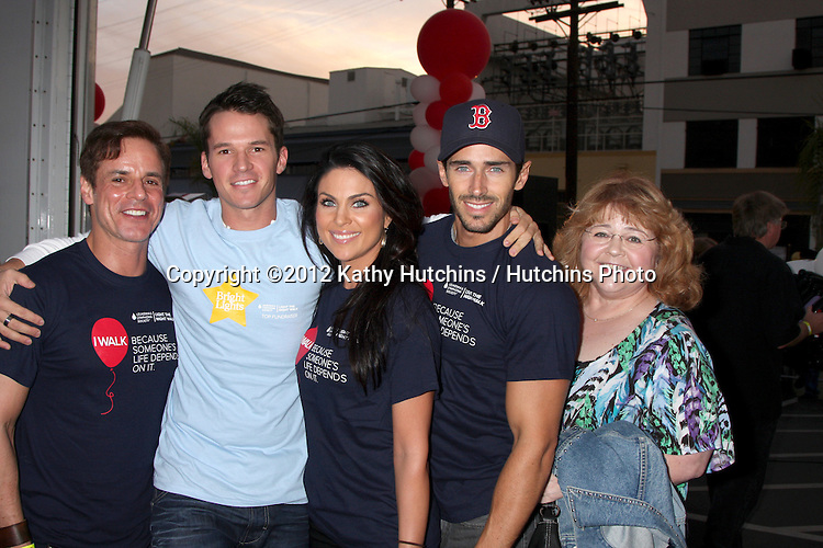 LOS ANGELES - OCT 6:  Christian LeBlanc, Mark Hapka, Nadia Bjorlin, Brandon Beemer, Patrika Darbo attends the Light The Night Walk to benefit The Leukemia & Lymphoma Society at Sunset Gower Studios on October 6, 2012 in Los Angeles, CA