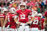 Wisconsin Badgers quarterback Alex Hornibrook (12) looks on during an NCAA College Football Big Ten Conference game against the Purdue Boilermakers Saturday, October 14, 2017, in Madison, Wis. The Badgers won 17-9. (Photo by David Stluka)