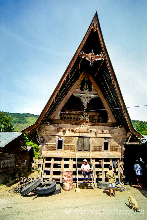 Indonesia, Sumatra. Samosir. A traditional Batak style building, not far from Simanindo.