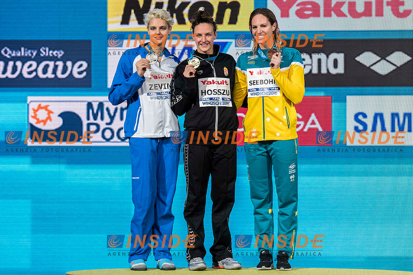 HOSSZU Katinka HUN Gold Medal<br /> ZEVINA Daryna UKR Silver Medal<br /> SEEBOHM Emily AUS Bronze Medal<br /> Women's 200m Backstroke<br /> 13th Fina World Swimming Championships 25m <br /> Windsor  Dec. 8th, 2016 - Day03 Finals<br /> WFCU Centre - Windsor Ontario Canada CAN <br /> 20161208 WFCU Centre - Windsor Ontario Canada CAN <br /> Photo &copy; Giorgio Scala/Deepbluemedia/Insidefoto