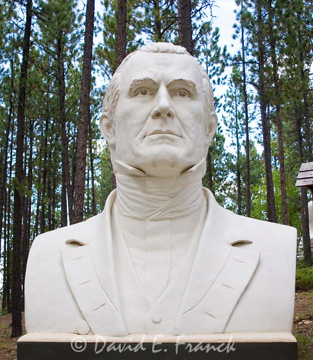 James K. Polk bust by sculptor David Adickes at Presidents Park in Lead South Dakota