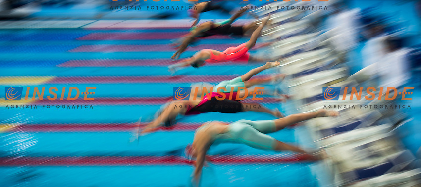 The start<br /> Swimming - Women's  100m freestyle heats<br /> Day 14 06/08/2015<br /> XVI FINA World Championships Aquatics Swimming<br /> Kazan Tatarstan RUS July 24 - Aug. 9 2015 <br /> Photo Giorgio Perottino/Deepbluemedia/Insidefoto