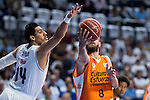 Real Madrid's player Gustavo Ayon and Valencia Basket's Diot during the first match of the Semi Finals of Liga Endesa Playoff at Barclaycard Center in Madrid. June 02. 2016. (ALTERPHOTOS/Borja B.Hojas)