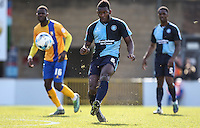 Aaron Pierre of Wycombe Wanderers (centre) during the Sky Bet League 2 match between Wycombe Wanderers and Mansfield Town at Adams Park, High Wycombe, England on 25 March 2016. Photo by David Horn.
