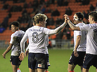 Cameron McGeehan celebrates his goal during the Sky Bet League 2 match between Blackpool and Luton Town at Bloomfield Road, Blackpool, England on 17 December 2016. Photo by Liam Smith.