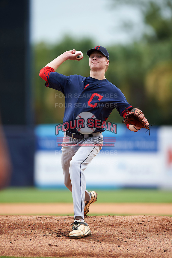 Pitcher Noah Murdock (29) of Colonial Heights High School in Colonial Heights, Virginia playing for the Cleveland Indians scout team during the East Coast Pro Showcase on July 30, 2015 at George M. Steinbrenner Field in Tampa, Florida.  (Mike Janes/Four Seam Images)