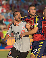 Professional MLS defense on a corner kick. Toronto FC midfielder Dwayne De Rosario (14) and Real Salt Lake defender Chris Wingert (17). Salt Lake Real defeated Toronto FC, 3-0, at Rio Tinto Stadium on June 27, 2009.
