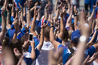 "MOSCOW, RUSSIA - June 16, 2018: Iceland fans perform the ""Iceland Clap"" during a pre-game rally at Zaryadiye park before their game against Argentina at the 2018 FIFA World Cup."