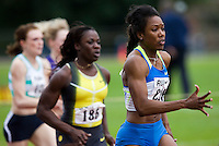 17 JUL 2008 - LOUGHBOROUGH, UK - Montell Douglas powers through to break the British womens 100m record in a time of 11.05 seconds - 100m -  Loughborough European Athletics Permit Meeting. (PHOTO (C) NIGEL FARROW)