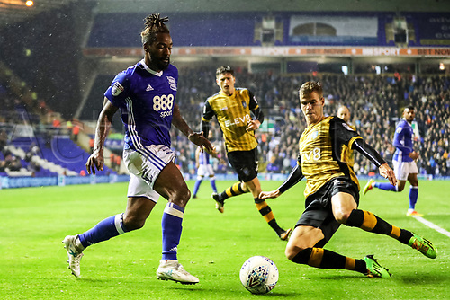 27th September 2017, St. Andrews Stadium, Birmingham, England; EFL Championship football, Birmingham City versus Sheffield Wednesday; Jacques Maghoma of Birmingham City avoids the Sheffield Wednesday player who clears the ball