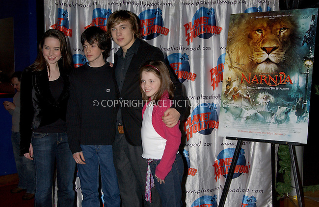 WWW.ACEPIXS.COM . . . . . ....NEW YORK, DECEMBER 9, 2005......Anna Popplewell, Skandar Keynes, William Moseley and Georgie Henly at the cast appearance of Disney Pictures new film 'The Chonicles of Narnia' held at Planet Hollywood.......Please byline: KRISTIN CALLAHAN - ACEPIXS.COM.. . . . . . ..Ace Pictures, Inc:  ..Philip Vaughan (212) 243-8787 or (646) 679 0430..e-mail: info@acepixs.com..web: http://www.acepixs.com
