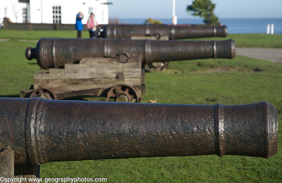 Historic Gun Hill with cannon, Southwold, Suffolk, England