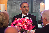 United States President Barack Obama eats dinner with recipients of the Medal of Freedom at the Smithsonian National Museum of American History on November 20, 2013 in Washington, D.C. <br /> Credit: Kevin Dietsch / Pool via CNP