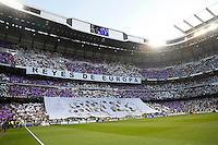 Madrid, Spain, 23/04/14.- Real Madrid's supporters during Champions League semifinal's 1st match at Santiago Bernabeu Stadium.<br />  <br /> Photo: Cesar Cebolla / ALFAQUI