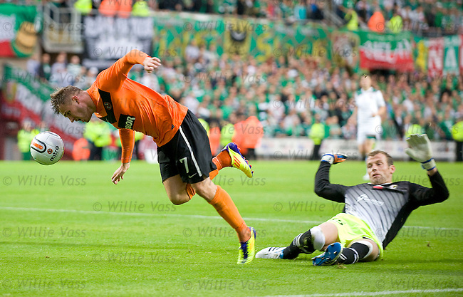 David Goodwillie tripped by keeper Marian Kelemen for a penalty