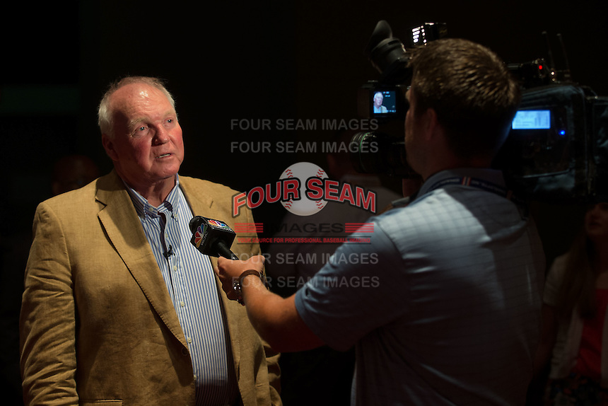 Charlie Manuel is interviewed by a TV reporter at the Triple-A All-Star Game Luncheon at the Charlotte Convention Center on July 12, 2016 in Charlotte, North Carolina.  Manuel was inducted into the Charlotte Baseball Roundtable of Honor along with former Charlotte Knights player Jim Thome (not pictured).   (Brian Westerholt/Four Seam Images)