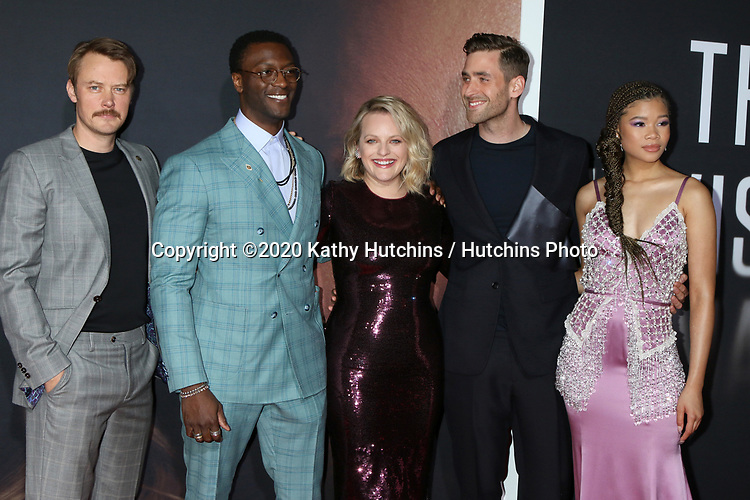 "LOS ANGELES - FEB 24:  Michael Dorman, Aldis Hodge, Elisabeth Moss, Oliver Jackson-Cohen, and Storm Reid at the ""The Invisible Man"" Premiere at the TCL Chinese Theater IMAX on February 24, 2020 in Los Angeles, CA"