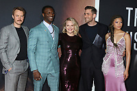 """LOS ANGELES - FEB 24:  Michael Dorman, Aldis Hodge, Elisabeth Moss, Oliver Jackson-Cohen, and Storm Reid at the """"The Invisible Man"""" Premiere at the TCL Chinese Theater IMAX on February 24, 2020 in Los Angeles, CA"""