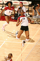 27 October 2005: Foluke Akinradewo during Stanford's 3-0 win over Oregon at Maples Pavilion in Stanford, CA.