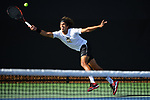 WINSTON SALEM, NC - MAY 22: Skander Mansouri of the Wake Forest Demon Deacons returns a serve against the Ohio State Buckeyes during the Division I Men's Tennis Championship held at the Wake Forest Tennis Center on the Wake Forest University campus on May 22, 2018 in Winston Salem, North Carolina. (Photo by Jamie Schwaberow/NCAA Photos via Getty Images)