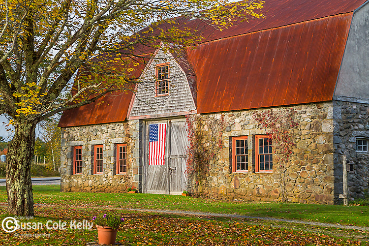 The old stone barn in Bar Harbor, Maine, USA