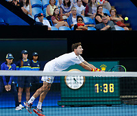 8th January 2020; RAC Arena, Perth, Western Australia; ATP Cup Australia, Perth, Day 6; Spain versus Japan; Pablo Carreno Busta of Spain lunges for the ball during the doubles against Japan - Editorial Use