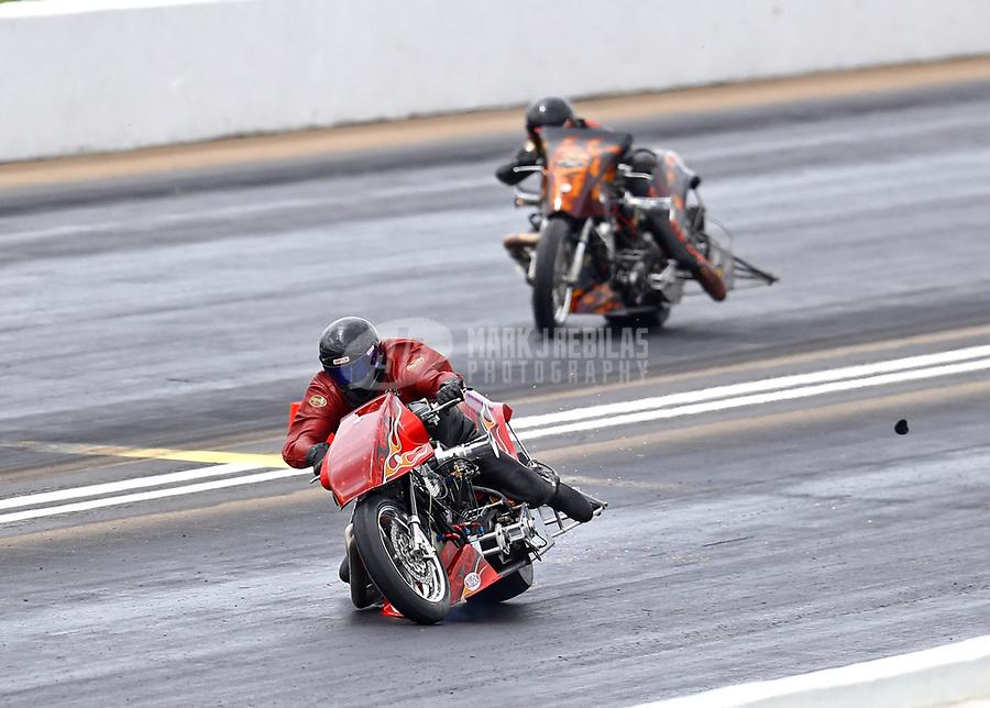 May 20, 2017; Topeka, KS, USA; NHRA top fuel nitro Harley Davidson rider Mike Scott during qualifying for the Heartland Nationals at Heartland Park Topeka. Mandatory Credit: Mark J. Rebilas-USA TODAY Sports