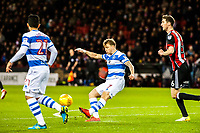 Queens Park Rangers midfielder Luke Freeman (7) clears during the Sky Bet Championship match between Sheff United and Queens Park Rangers at Bramall Lane, Sheffield, England on 20 February 2018. Photo by Stephen Buckley / PRiME Media Images.