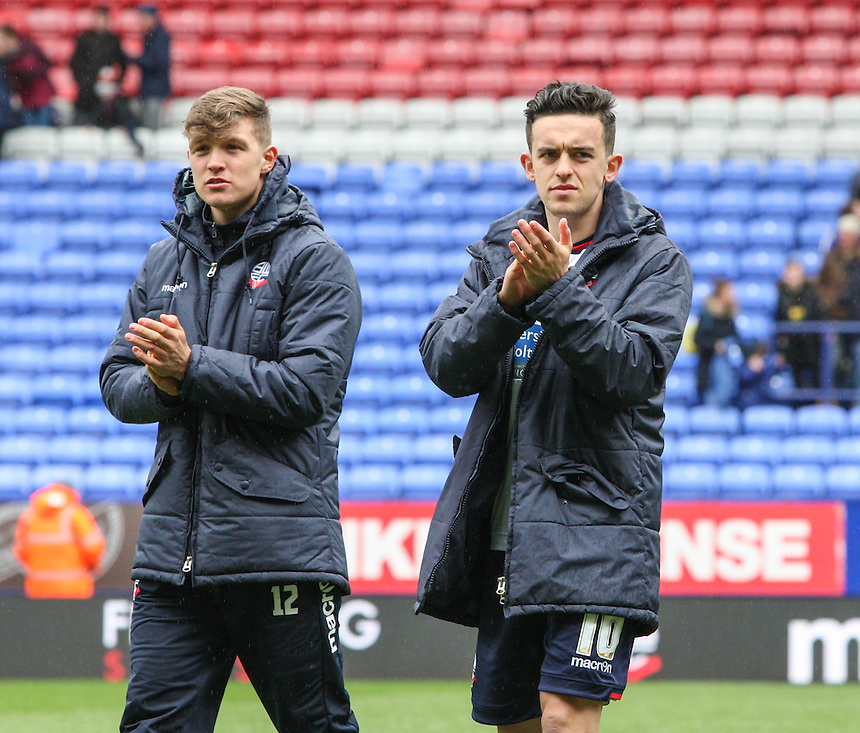 Bolton Wanderers' Zach Clough and Max Clayton applaud fans during a lap of honour<br /> <br /> Photographer Alex Dodd/CameraSport<br /> <br /> Football - The Football League Sky Bet Championship - Bolton Wanderers v Hull City - Saturday 30th April 2016 - Macron Stadium - Bolton <br /> <br /> &copy; CameraSport - 43 Linden Ave. Countesthorpe. Leicester. England. LE8 5PG - Tel: +44 (0) 116 277 4147 - admin@camerasport.com - www.camerasport.com