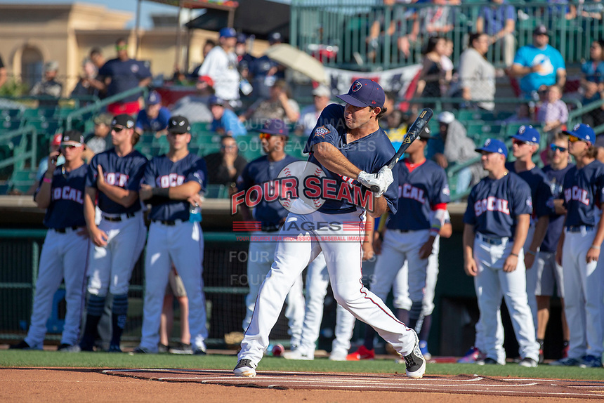 Roberto Ramos (22) of the Lancaster JetHawks participates in the Home Run Derby prior to the 2018 California League All-Star Game at The Hangar on June 19, 2018 in Lancaster, California. The North All-Stars defeated the South All-Stars 8-1.  (Donn Parris/Four Seam Images)