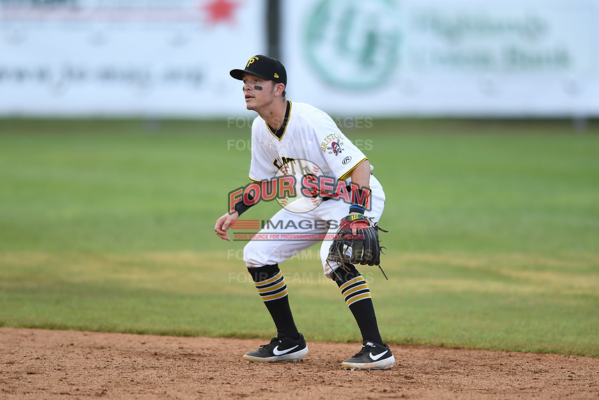 Bristol Pirates second baseman Josh Bissonette (14) in action during the game with the Burlington Royals at Boyce Cox Field on June 19, 2019 in Bristol, Virginia. The Royals defeated the Pirates 1-0. (Tracy Proffitt/Four Seam Images)
